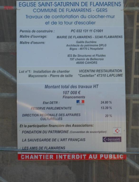 Confortation du mur clocher - 2012